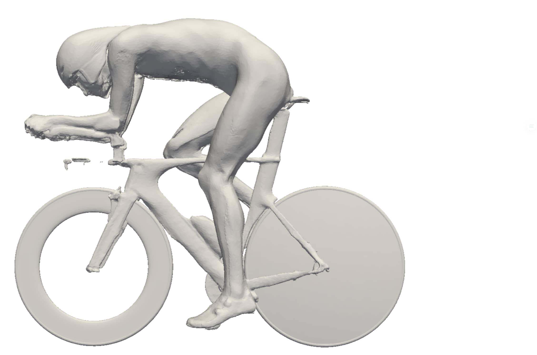 3D modell av syklist i tempostilling